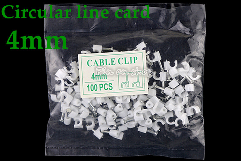 100Pcs Office Mount Cable Clip Wall Square Wire Card DIY With Nail Clamp Fixing
