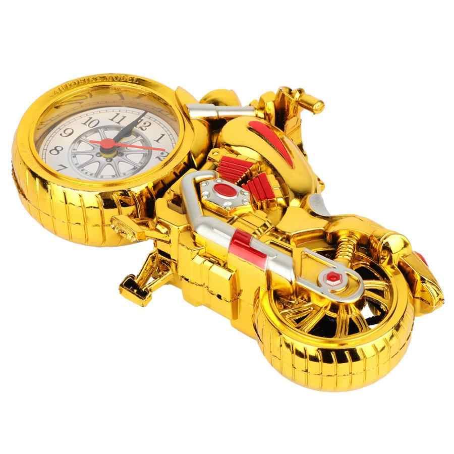 Jam Digital Alarm Fashion Retro Bentuk Sepeda Motor Analog Jam Alarm Motor Meja Meja Dekorasi Digital Alarm