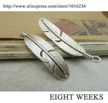 Zinc alloy pendant jewelry accessories diy handmade material charms free shipping Feather 10 * 45 mm