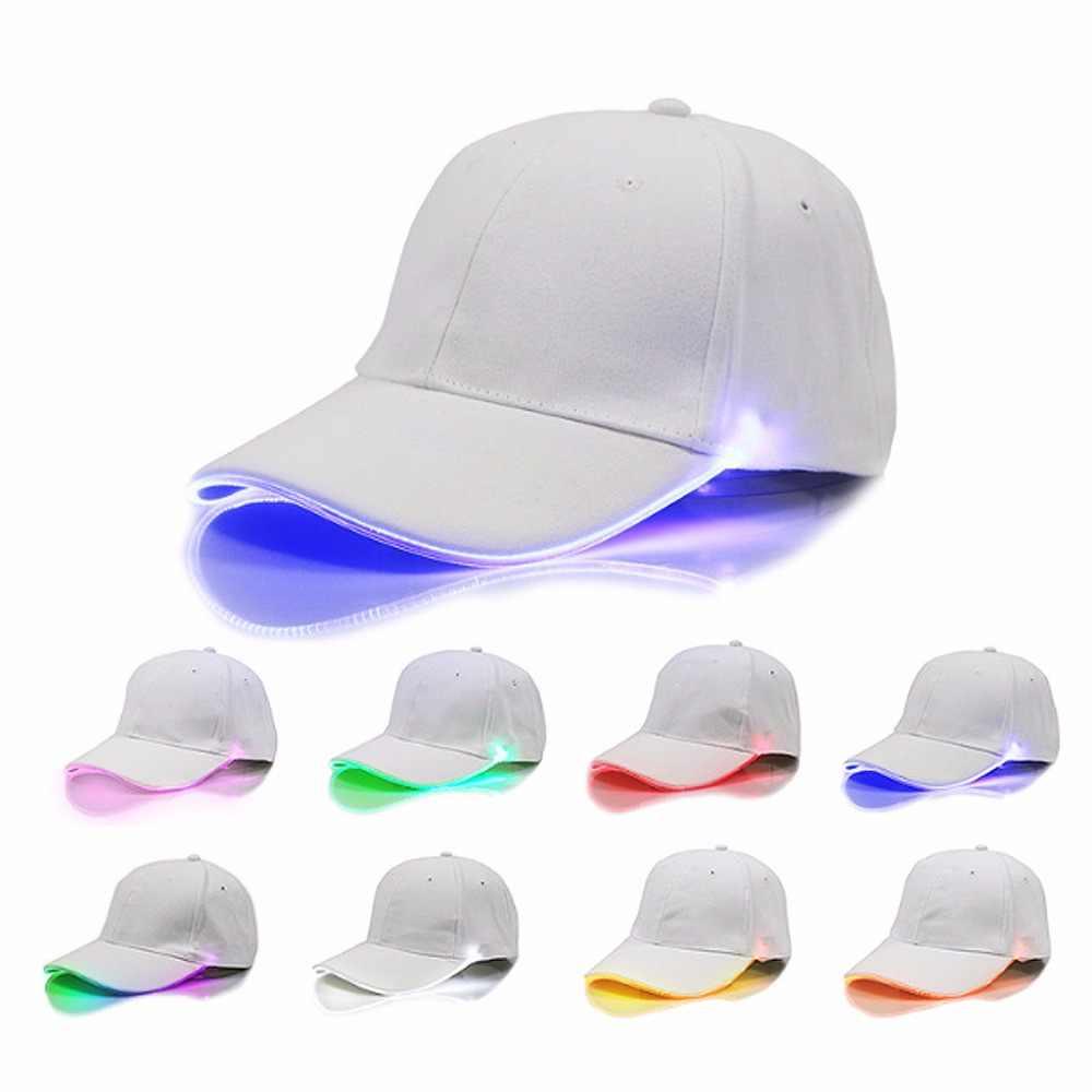 2017 LED Lighting Adjustable tennis Cap Sun Hat Men Women Club Party Baseball Hat Sports Caps Cotton Unisex Solid Caps