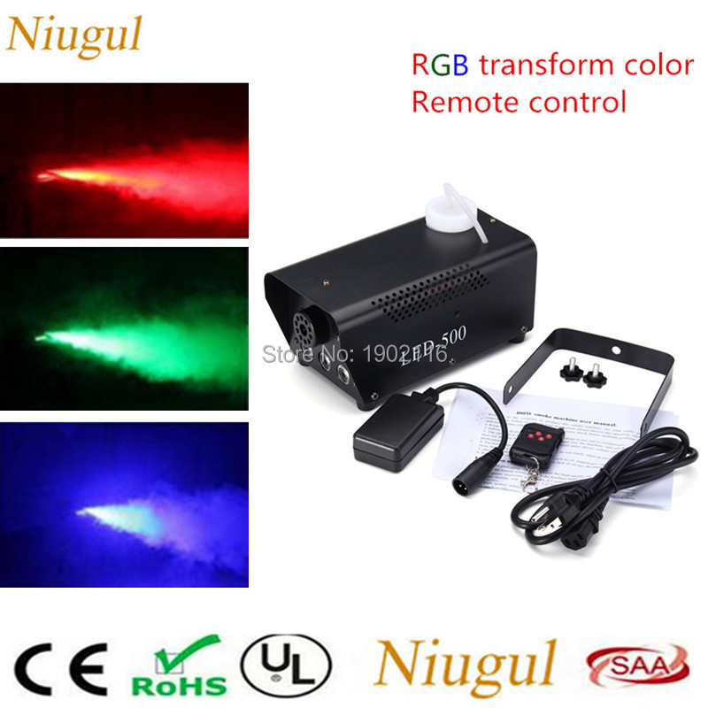 2018 New mini 500W RGB Wireless remote control fog machine pump dj disco LED smoke machine for home party stage fogger machine