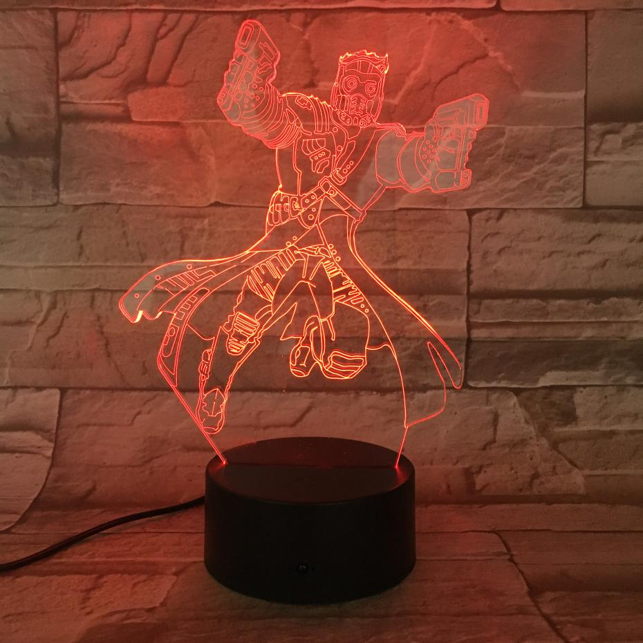 Usb 3d Led Night Light Marvel The Avengers Super Heroe Star Lord Figure 3D Illusion Birthday Gifts RGB Table Lamp Bedroom Neon