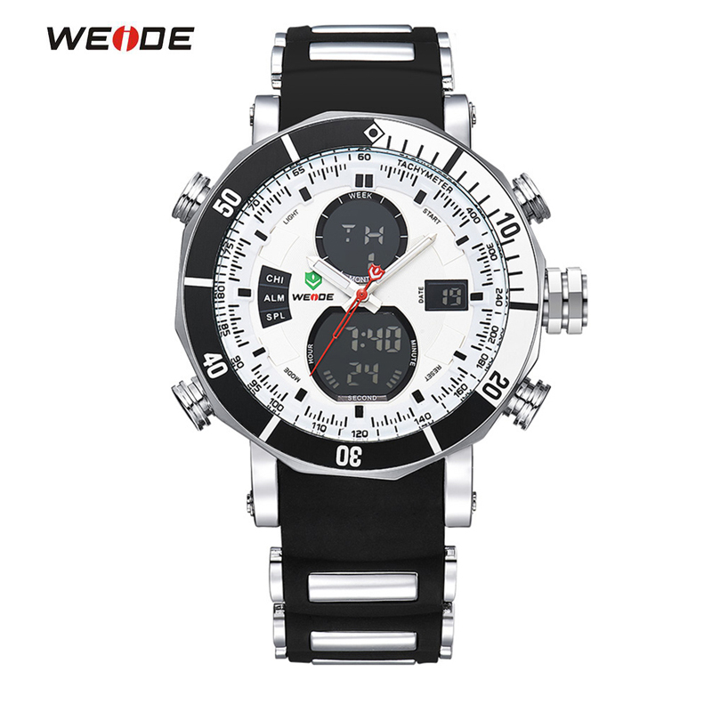 WEIDE Men Sports Watches Waterproof Military Quartz Digital Watch Alarm Stopwatch Dual Time Zones Wristwatch relogios masculinos weide wh2309b military sports quartz watch double movts analog digital led dual time display alarm wristwatch for men