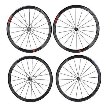 Сверхлегкие алюминиевые четырехперлиновые плоские спицы C6.0, гоночные 40 обода, дорожный велосипед, колесо 700C с анти курсором
