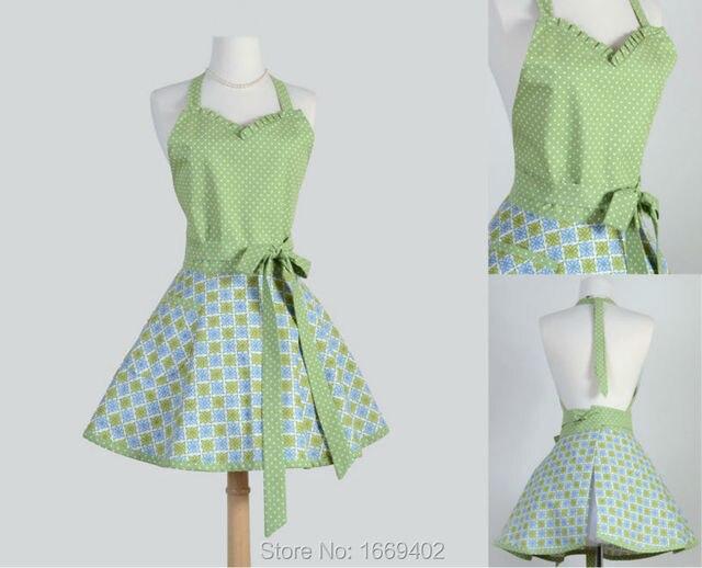 classico flirty grembiule verde fiore grembiule con cravatte ... - Grembiuli Cucina Personalizzati