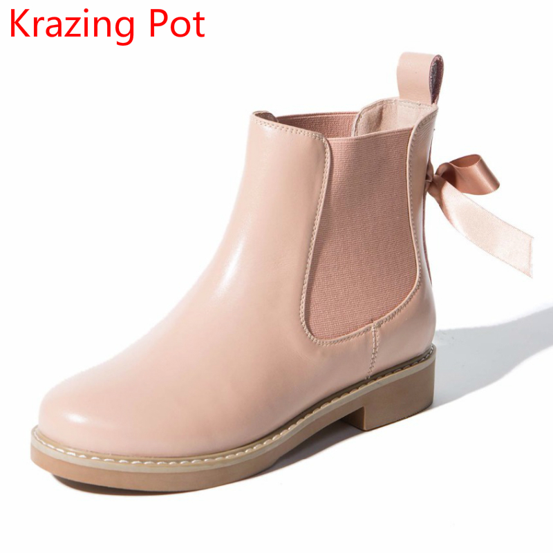 2018 Handmade Cow Leather Casual Round Toe Slip on Low Heels Winter Boots Keep Warm Sweet Pink Sexy Runway Women Ankle Boots L05