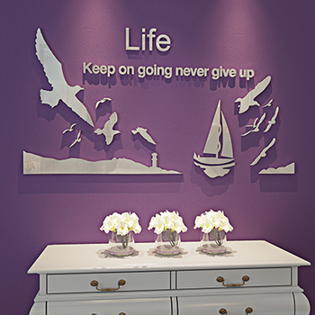 Lighthouse Sailing Seagull Sailboat Seabirds Design Acrylic Wall Sticker Mediterranean Living Room Kids Room Wall Decorations