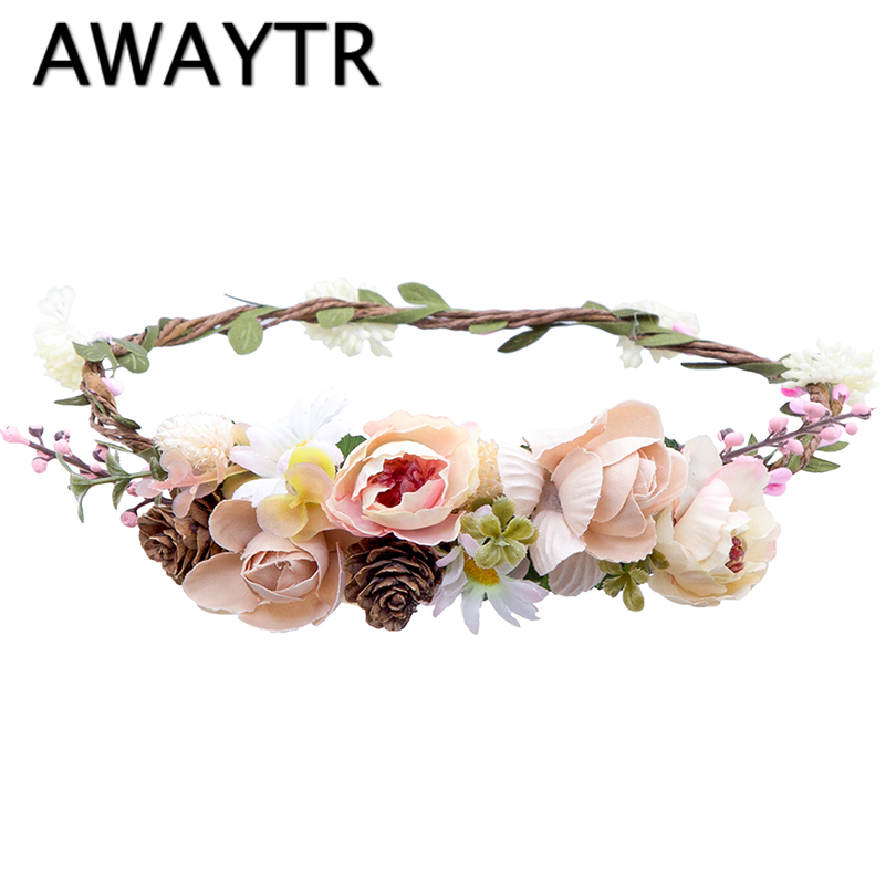 AWAYTR Handmade Wedding Bride Flower Wreath Hair Accessory Party Woman Cloth Flower Crow ...