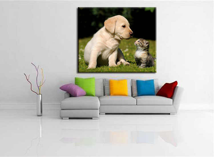1 pieces / set Printings Cat and Dog Animal Sprout Pet Series Expression Poster Printing Canvas Art Living Room Decor