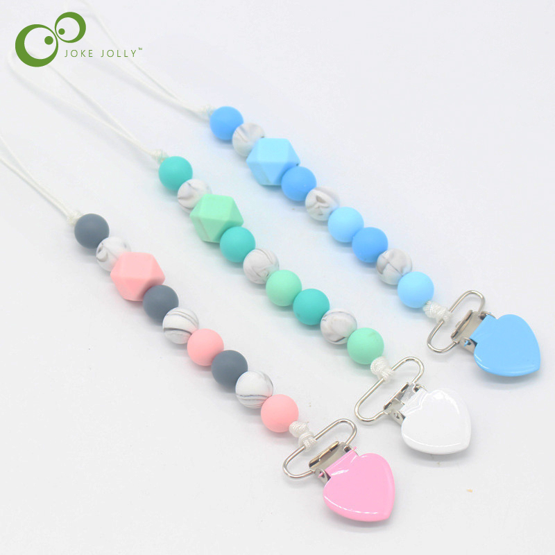 Teething Pacifier Clips Chain Holder Silicone Beads For Nipples Baby Chew Toys
