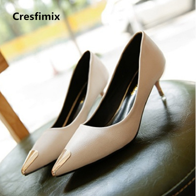 639da95bea197 US $11.99 |Cresfimix women fashion comfortable beige spike high heel shoes  lady casual office high heels tacones altos cute sexy shoes a640-in Women's  ...