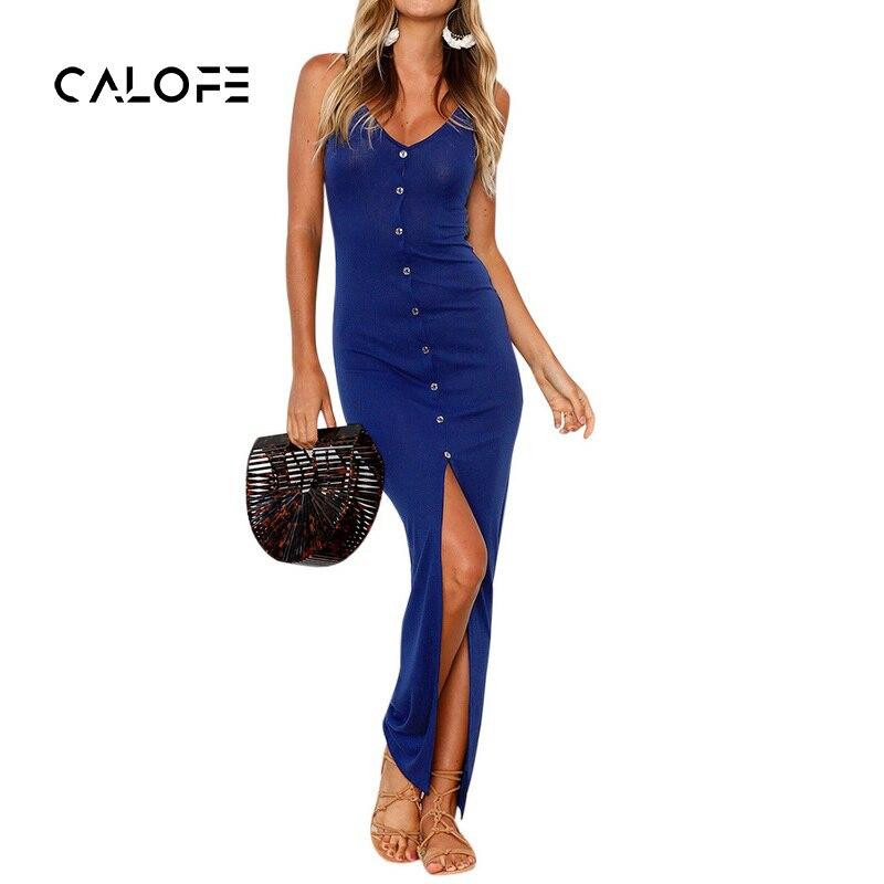 CALOFE 2018 New Sexy Dress Women Split Off Shoulder With Button Robe Femme Vestidos Summer Long Party Club Dresses Female
