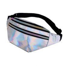 High Quality Women Fanny Pack Leg Bag Handbag Reflective Laser Punk Steam Waist Belt Womens