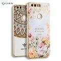 Super 3d impressão em relevo padrão tpu soft case para huawei honor 8 coque saco do telefone tampa traseira shell ultra-fino