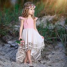 20190 модные летние вечерние платья принцессы с кружевом и кисточками для маленьких девочек