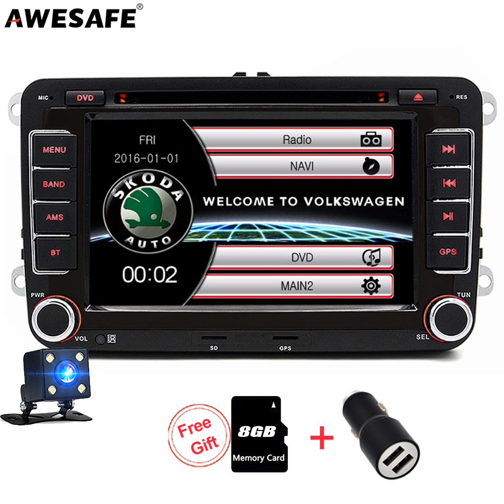 AWESAFE 2 Din Car Multimedia player DVD GPS Radio for