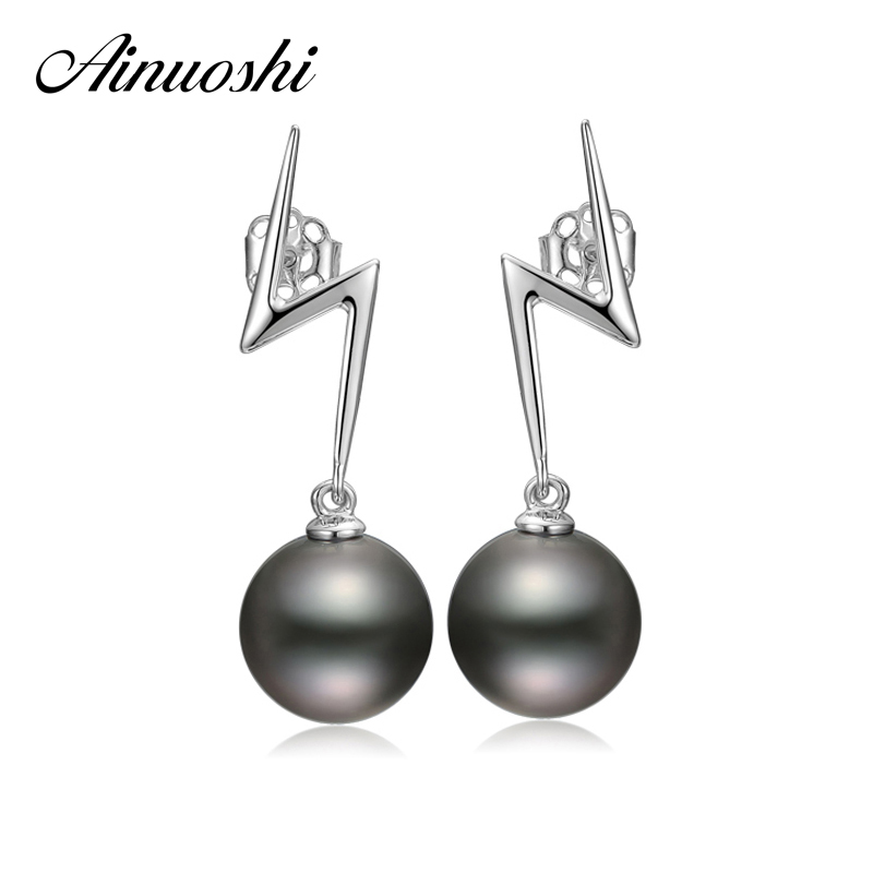 AINUOSHI Luxury Women Black Tahiti Pearl 9mm Round Pearl Lightning Earrings 925 Sterling Silver Anniversary Lover Drop Earrings ainuoshi 925 sterling silver leaves shaped pearl earrings 9 5 10mm natural tahitian black pearl round pearl lover stud earrings