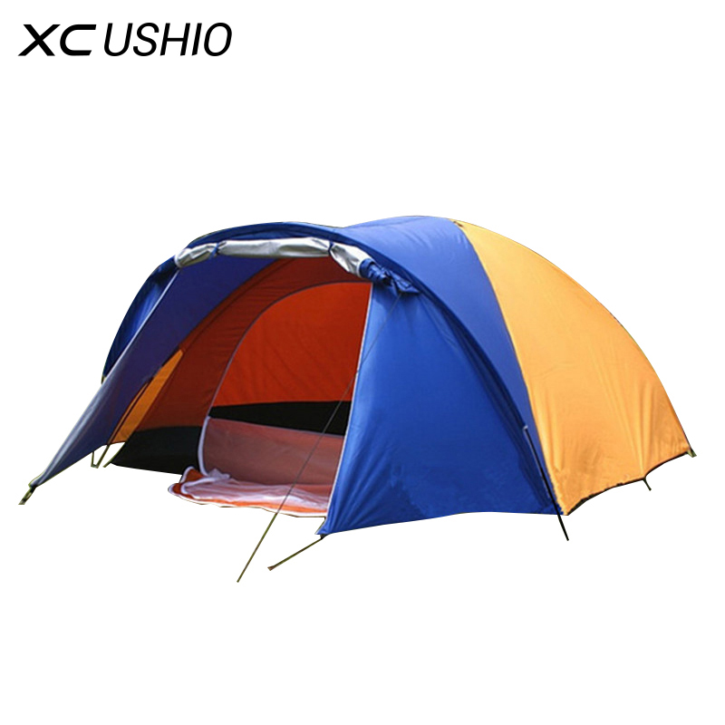 320x210x145cm Large doule layer tent 2 room for 3-4 person outdoor camping hiking hunting Ice fishing tourist emergency tent high quality outdoor 2 person camping tent double layer aluminum rod ultralight tent with snow skirt oneroad windsnow 2 plus