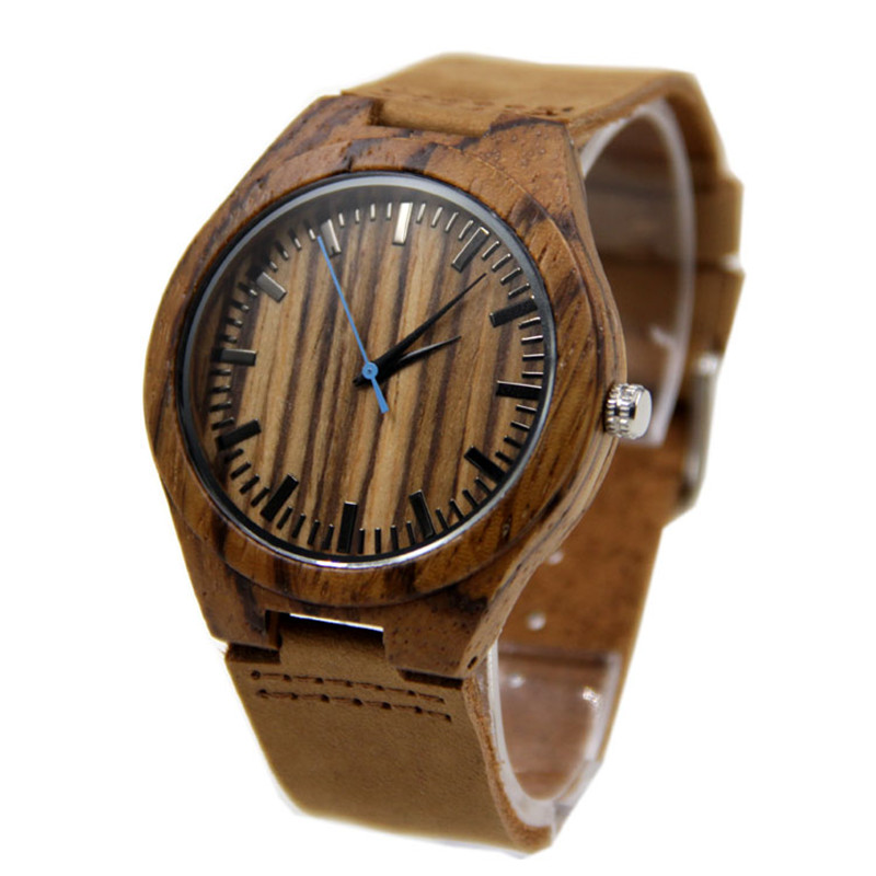 100% Natural Zebra Wood Watch With Genuine Cowhide Leather Factory Wholesale Fashion Wristwatches With Gift Box