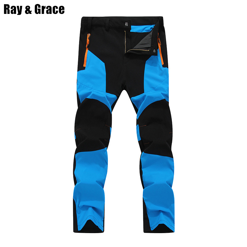 RAY GRACE Men Quick Dry Outdoor Sport Pants Waterproof Breathable Trekking Hiking Climbing Thin Trousers Elastic Pantalon Hombre dropshipping thin hiking pants men sports pants quick dry breathable outdoor trousers waterproof mountain trekking pant