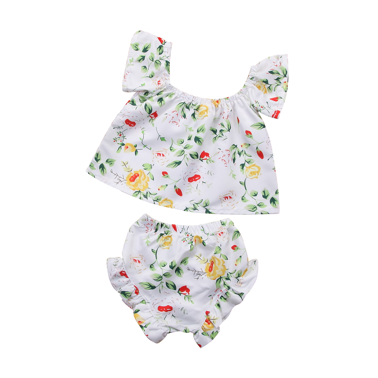 Hot sell Toddler Infant Baby Girls Clothes Sleeveless Floral Princess Off Shoulder Tops Shorts Clothes