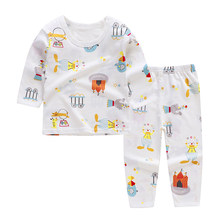 Cute Children's Autumn Pajamas Clothing Set Cartoon Boys & Girls Sleepwear Suits Kids Long Sleeves Top + Pants Baby Home Clothes(China)