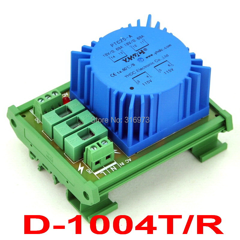 P 115VAC, S 2x 18VAC, 25VA DIN Rail Mount Toroidal Power Transformer Module.