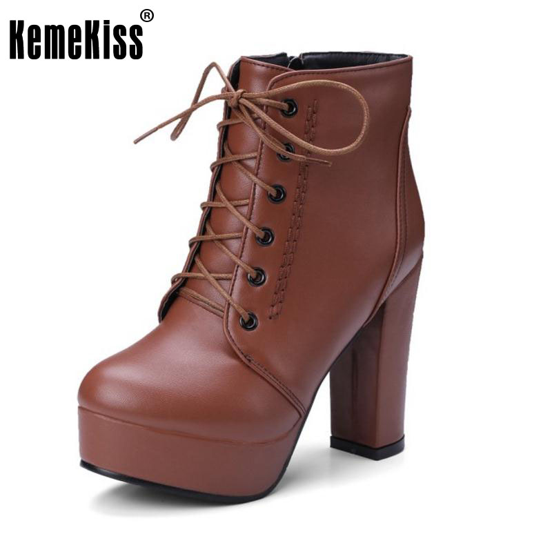 KemeKiss Size 34-43 Ladies Thick Platform Ankle Boots Women Cross Strap Side Zip Shoes Women High Heels Winter Botas Footwear kemekiss size 33 42 women s high heel wedge shoes women cross strap platform pumps round toe casual mixed color ladies footwear