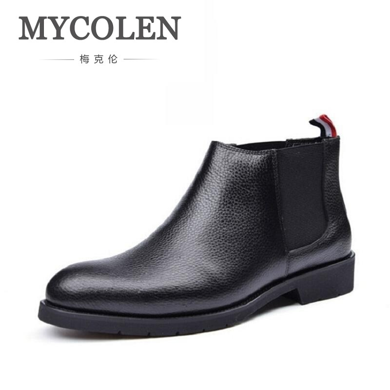 MYCOLEN Luxury Brands Genuine Leather Men Boots Winter Causal Work Shoes Male Business Black Ankle Boot Men Bota Masculina