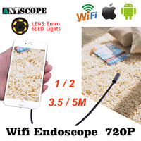 Armgroup Wifi Endoscope HD 1m 2m 5m Iphone Endoscope 8mm 720P Boroscope Waterproof Camera Endoscopic Android