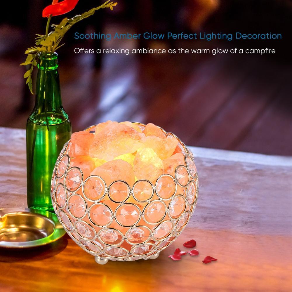 Himalayan Salt Lamp Natural Pink Crystal Rock Salt Night Lamp Bowl 2x15W Bulbs Replacement Night Table Desk Light