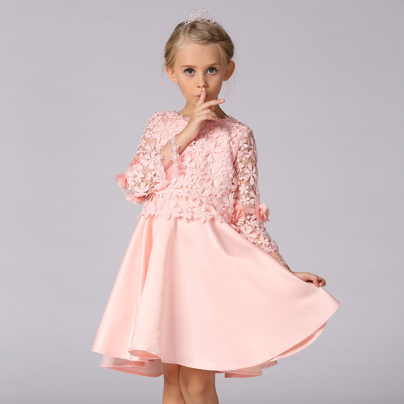 ФОТО New Flower Girls Dresses For Wedding Gowns Knee-Length  Kids Prom Dresses A-Line  Pageant Dresses for Little Girls
