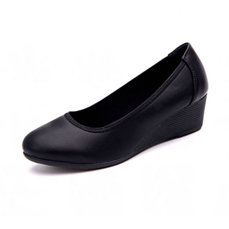 Work Shoes Soft Bottom Is  Comfortable To Wear Women's Shoes Professional Sloping Shoes And Round Office Shoes Women