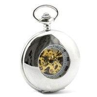 Silver Modern Skeleton Pocket Watch Mechanical Hand Wind Pocket & Fob Watches Women's Pocket Watch Pendant relogio de bolso Gift