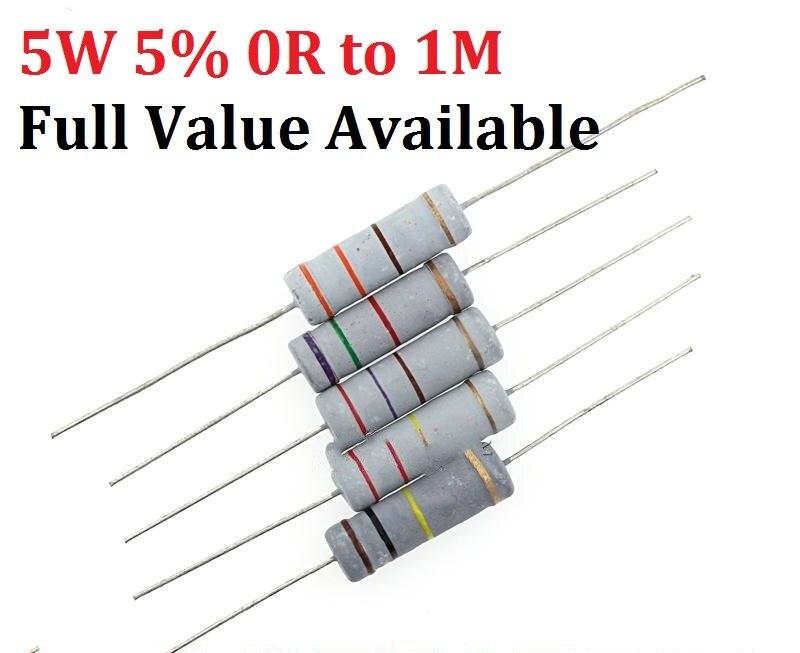 Kohleschicht Widerstand Ø2.5x6.5mm 10x 75K Ohm Ω 5/% 0207 Carbon Film Resistor