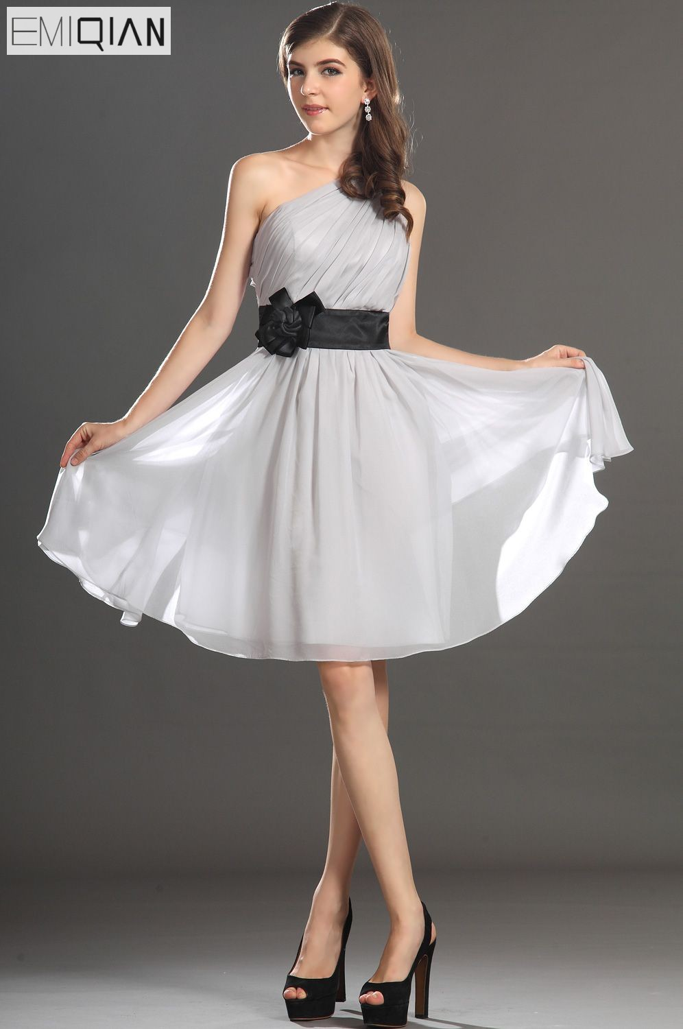 Free Shipping New Gorgeous One Shoulder Black Sach Grey Chiffon Cocktail Dress