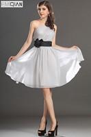 Free Shipping New Gorgeous One shoulder Black Sach Grey Chiffon Cocktail Dress