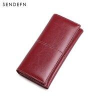 New Arrival Long Wallet Split Leather Wallet Women Zipper Women Purse Button Women Wallets Card Holder Purse Casual Purse Women