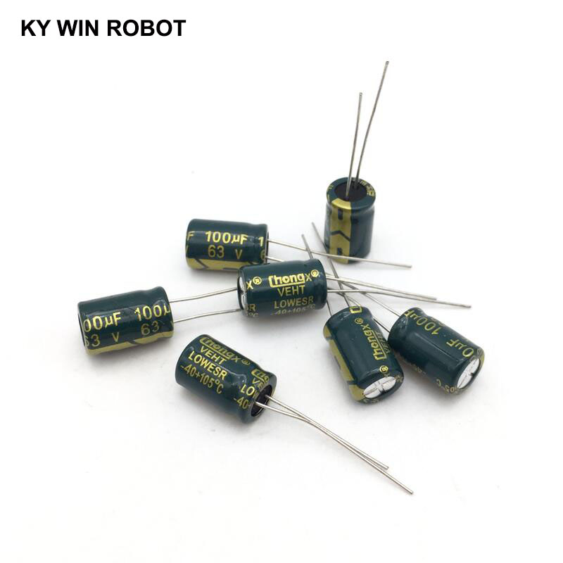 10 PCS 100UF//63V Radial Electrolytic Capacitors 8x12mm 63V 100uF 105°C