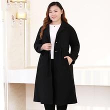 Outono novo plus size 10xl 9xl 8xl longo trench coat para as mulheres 2018 casaco casual senhora do escritório grandes tamanhos roupas