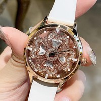 2019 Fashion Top Brand Luxury Watch Women Leather Strap Designer Women Dress Watch Rotating Flower Face Women Watches Quartz