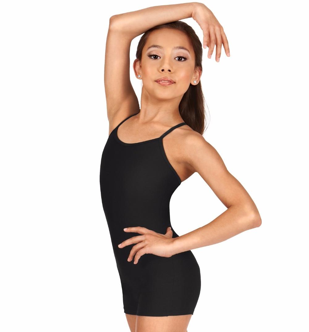 Girls Y-Back Camisole Biketard Ballet Dance Leotards for Kids Toddler Lycra Spandex Dance Wear Short Unitards Black Unitard