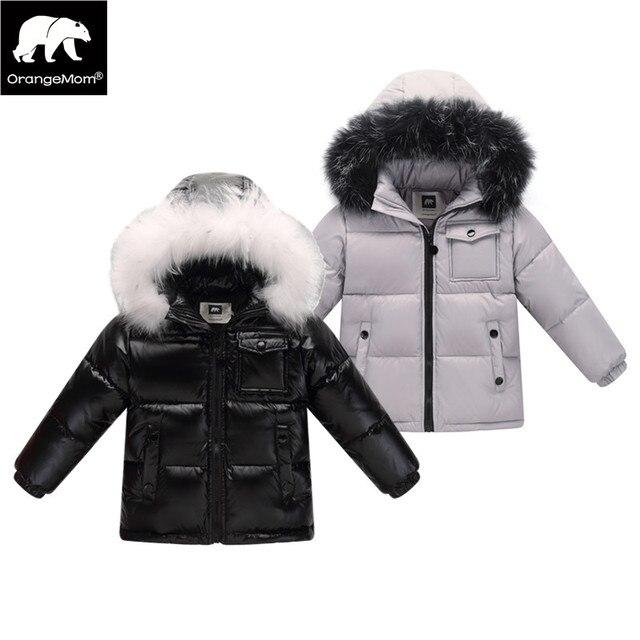 2017 зимняя куртка-пуховик парка для мальчиков и девочек пальто, 90% пуховики детская одежда для Зимняя одежда детская верхняя одежда и пальто