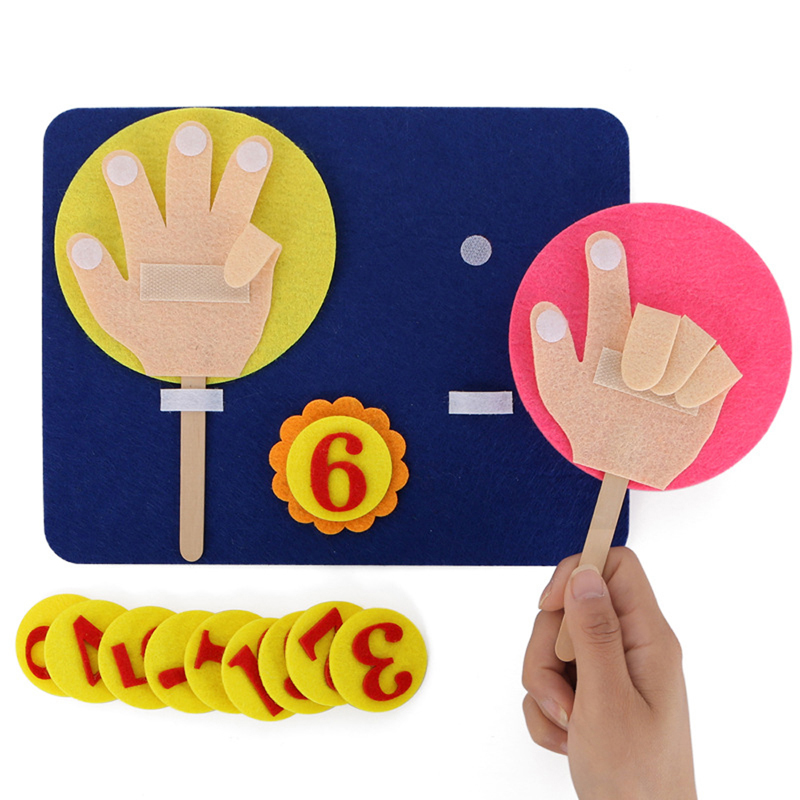 1 Set Children Maths Toys Finger Counting 1-10 Learning Montessori Educational Toy Felt Finger Numbers Teaching Aid DIY Gifts