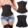 Black 28 spiral steel bones boned Waist  Underbust lace up corset Top Shaper
