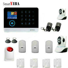 SmartYIBA APP Control 3G WIFI GPRS SMS Home Intruder Alarm System+2 HD IP Cameras+Metal Remote Controller+Strobe Siren+PIR etc.