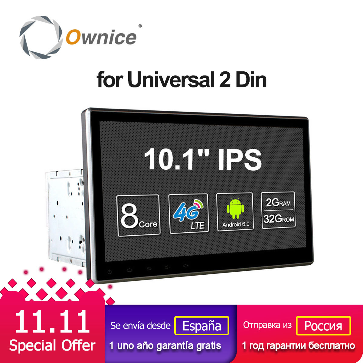 Ownice C500 2Din 10.1 pollice HD android 6.0 octa core Universal car radio stereo Lettore DVD di Navigazione GPS TPMS DAB 4g LTE Carplay