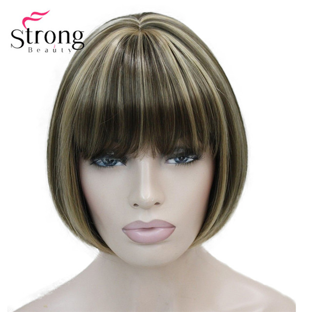 StrongBeauty Işık Kahverengi Zencefil Hilight mix Kadın Kısa Bob Düz tam Sentetik Peruk Günlük