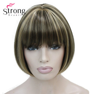 Image 1 - StrongBeauty Llight חום עם זנגביל Hilight לערבב נשים קצר בוב ישר מלא פאה סינתטית עבור כל יום