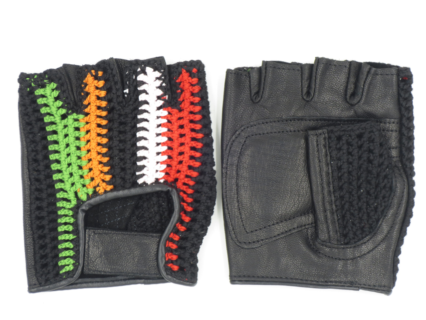 Mens Cycling Bicycle Bike Riding Crochet Knit Gloves Summer Fingerless Leather